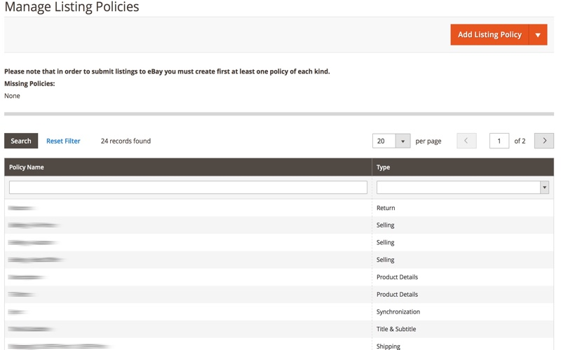 Manage Listing Policies